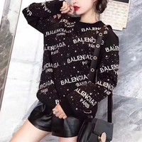 Balenciaga Fashion Galaxy Star Rhinestones Embroidery Top Sweater Pullover