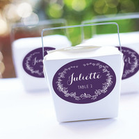 Eggplant Wedding Place Card Stickers, Purple Favor Stickers, Printed Escort Cards, Oval Labels, Placecard, Placement Cards - Set of 15
