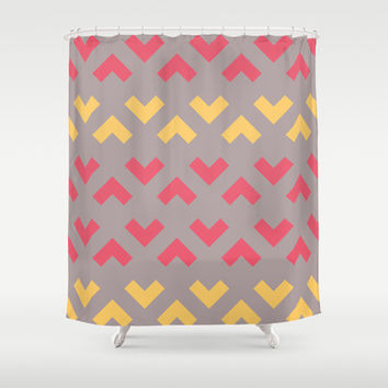 Chevron Pattern - Coral & Mustard Shower Curtain by C Designz