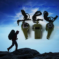 3 in1 Whistle Compass Thermometer For Outdoor Hiking Emergency Gear Camping Survival Hot New Arrival