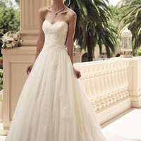 Casablanca Bridal 2108 Strapless Lace Tulle A-Line Wedding Dress