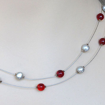 Illusion Necklace Floating Red Grey White Pearls Wedding Bridal Necklace Wire Jewelry Red Necklace Unique Gifts Red Jewelry