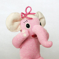 Pink stuffed elephant Josephine children's toys sock monkey Rockford Red Heel sock animal for kids crochet pink bow cute baby shower gift