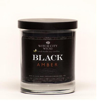 BLACK Amber scented soy jar candle, black candle