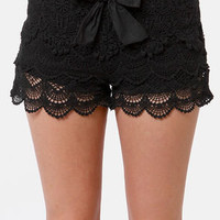 Lost Bossanova Black Lace Shorts