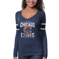 '47 Brand Chicago Cubs Ladies Homerun Long Sleeve Premium T-Shirt - Royal Blue