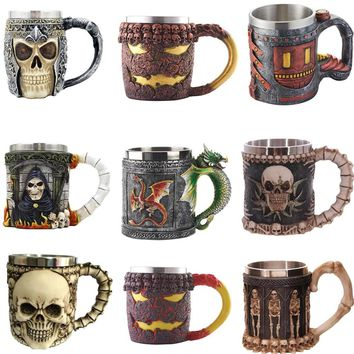 3D Midnight Skeleton Skull Stainless Steel Coffee Mug