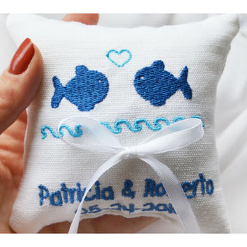 Nautical  ring pillow , embroidered ring cushion ,personalized  ring pillow, ring bearer pillow,  Custom embroidery (LR27)