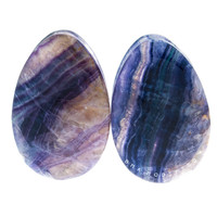 "1 1/2"" (38mm) Rainbow Fluorite Teardrops Stone Plugs #7154"