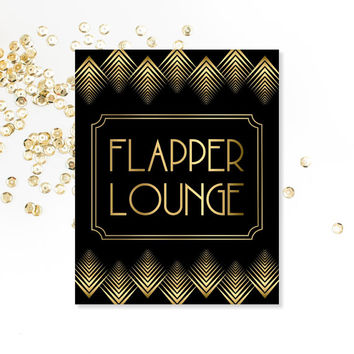 PRINTABLE Art, Flapper Lounge, Roaring 20's, Art Digital Download, Art Deco, Bathroom Sign, Wedding Decor, Party Decorations, Bridal Shower