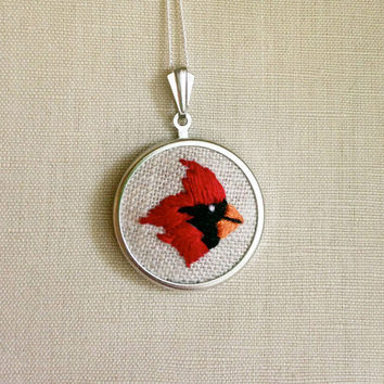 Embroidered Bird Necklace Red Cardinal Illinois State Bird Embroidery Pendant or Brooch