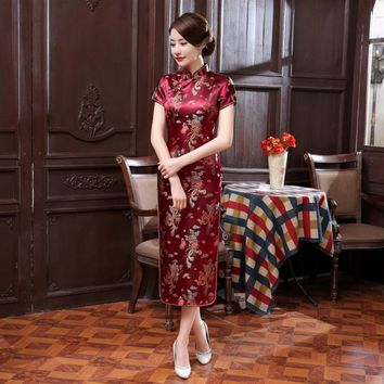 Red, Black, Gold, Blue Floral Collection Silk Long Cheongsam One-piece Chinese Qipao Dress
