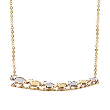 Seven Elephant 14k Solid Gold Luck Necklace Yellow & White Gold