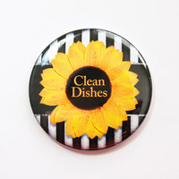 Dishwasher magnet, Sunflower, The dishes are clean, kitchen magnet, Clean Dishes, clean dishes magnet, Yellow, Black, White, Magnet (3683)