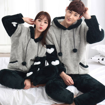 Winter 2016 Ladies Sleepwear Set Couple Pajamas Thick Coral Velvet Hooded Men Pyjamas For Women/Men/ Adult Footed Pyjama Homme