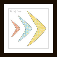 Geometric art Print - blue, red and yellow decor, crescent moon home decor wall art, yellow and grey, dorm decor poster, geometrical pattern