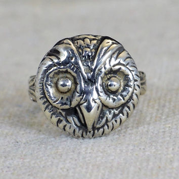 Owl Ring, Owl Face Ring, Silver Owl Ring, Owl Jewelry, Bird Ring, Animal Ring, Statement Ring, Vintage Owl Ring, Sterling Owl Ring, Owl Ring