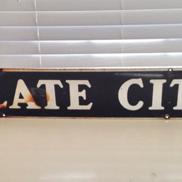 Slate City Billboard Advertising Sign / Antique Porcelain Enamel Black and White Sign