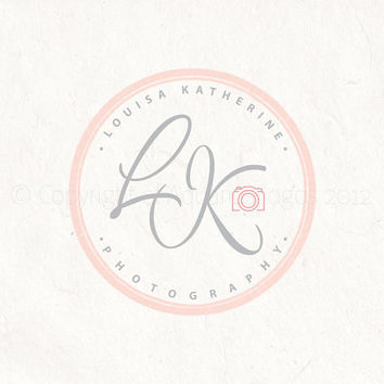Premade photography logo design using your initials in a circle stamp style watermark including a camera logo.