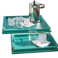 Wrapped Handle Tray- Turquoise
