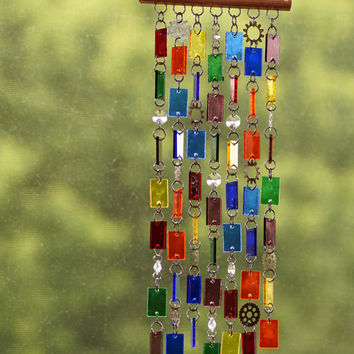 Stained Glass - Colored Glass - Wind Chimes - Sun Catcher - OOAK - Steampunk Hippie