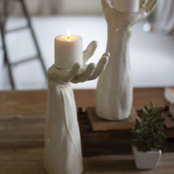 Ceramic Hand Candle Holder