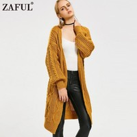 ZAFUL 2018 New Spring Autumn Women Knitted Sweaters Solid Color Oversize Cardigan Ela Cable Knit Loose Open Front Cardigan
