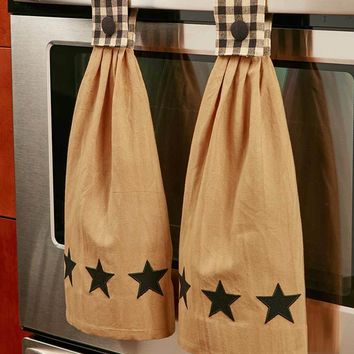 Black Country Star Themed Hanging Kitchen Towel Set of 2 Cotton Button Closure