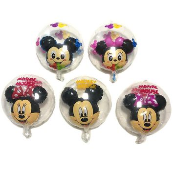 Birthday Party Balloons Mickey Minnie Mouse Balloon Transparent Mickey Minnie Ball Wedding Decoration Kids Toy Balloons Gift