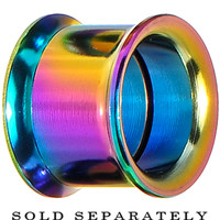 "9/16"" Rainbow Titanium Double Flare Internally Threaded Tunnel 