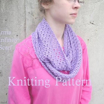 Knitting Pattern, Irma Infinity Scarf, Easy Lace, Sport DK Yarn, Beginner, Cotton Blends Wool