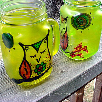 Set of two jar glasses with summer owls drink safe ready to ship