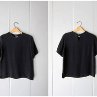 Black Silk Top 90s Boxy Silk Tee Minimal Silk Blouse Vintage 1990s Crop Silk top Minimal Silk Tshirt Womens Modern Black Tee Small Medium