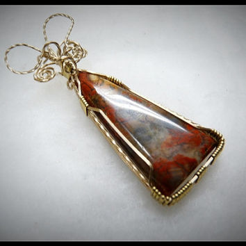 Gorgeous Red Plume Agate, OOAK,  Gold Filled Wire Wrapped Pendant