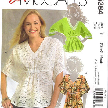 McCall's 5384 Sewing Pattern Women's Plus Size Blouse Shirt Top Full Figure Butterfly Sleeves Handkerchief Hem Uncut FF Bust 38 to 48