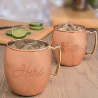 "Cathy's Concepts ""For the Couple"" Moscow Mule Copper Mug Set - Brown (Set of 2)"