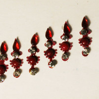 Bollywood Stunning Fancy Maroon Teardrop Bead Bindis / Tribal Bindi in New Styles.