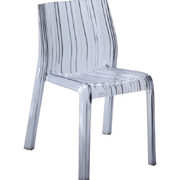 Fine Mod Imports Stripe Clear Acrylic Dining Chair FMI10029