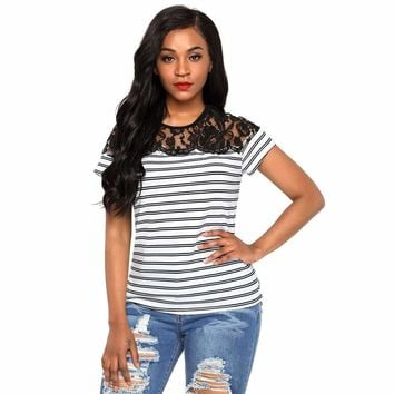 White Striped Cap Sleeve Top with Lace Detail
