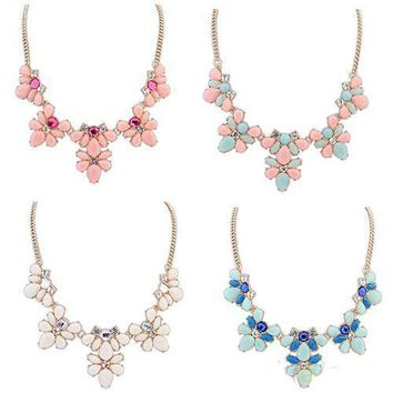Women's Crystal Flower Statement Bib Pendant Chain Choker Necklace