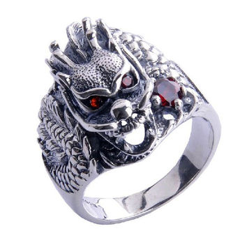 Dominating Dragon King's Ring Men's Styles .925 Silver Jewelry Fashion-Size 10
