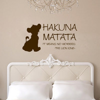 Hakuna Matata with Simba Vinyl Wall Words Decal Sticker Graphic