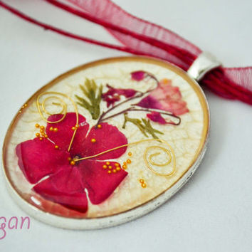 Unique handmade silver plated pendent with Real Flowers embedded in resin, silver plated settings, Red flower pendent, Resin flowers