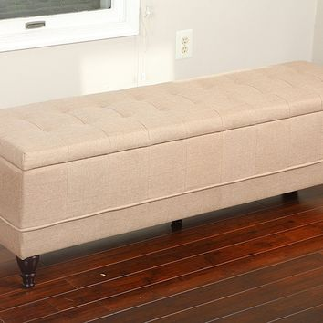 New Century® Linen Upholstered Large, Queen Size, Ottoman Storage Bench, Beige