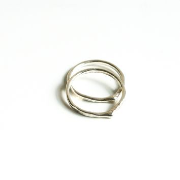 Chevron Tear Shape Stacking Sterling Silver Ring Set