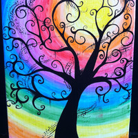 Creepy Swirly Rainbow Tree11x14 Water Color Canvas Painting