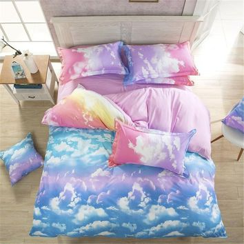Comforter Bedding Set Reactive Printed Sky Clouds Duvet Cover Sets Cotton King/Queen/Full/Twin Size 3PCS