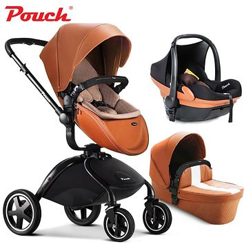 Brand baby strollers 3 in 1 baby car folding light baby stroller with car seat and baby bassinet Leather