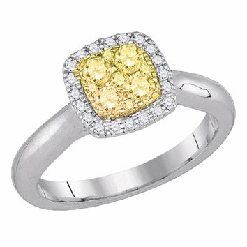 14kt White Gold Womens Round Yellow Canary Diamond Square Cluster Ring 1/2 Cttw