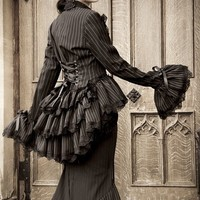 Steampunk Jacket Victorian Bustle Corset Vintage Black Gothic Pinstripe HAUNTER Of The DARK Bustle Jacket by Lovechild Boudoir